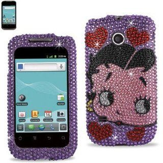 Reiko DPC HWM865 B30PP Betty Boop Fashionable Premium Bling Diamond Protective Case for Huawei Ascend II (M865)   1 Pack   Retail Packaging   Purple: Cell Phones & Accessories