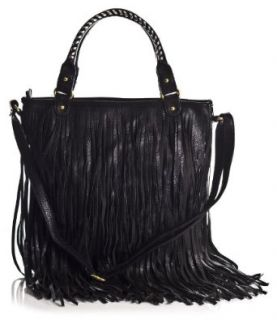 LS_3699 LF_906 Celebrity Style Fringe Cowgirl Tassel Shoulder Bag (Black): Handbags: Shoes