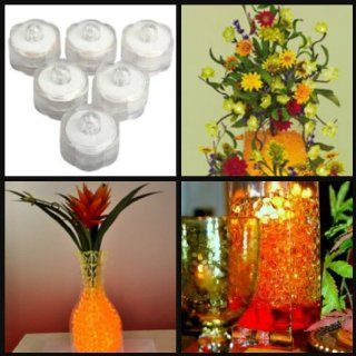BUNDLE(2): Heat Sealed Packaging for Freshness: 4 Oz. ORANGE Jelly BeadZ (Tm) gel soil Water Beads + 6 PCS WHITE Submersible LED Lights: Wedding Centerpiece Package   Party Table Centerpieces