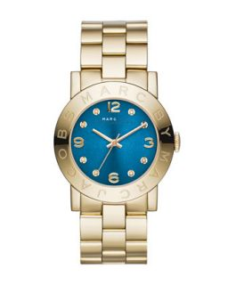 36mm Amy Crystal Analog Watch with Bracelet Strap, Golden/Blue   MARC by Marc