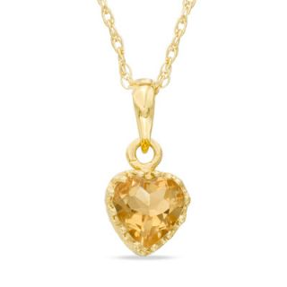 0mm Heart Shaped Citrine Crown Pendant in Sterling Silver with 14K