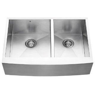 VIGO VG3320BL 33 inch Farmhouse Stainless Steel 16 Gauge Double Bowl Kitchen Sink