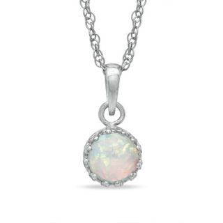 0mm Lab Created Opal Crown Pendant in Sterling Silver   Zales