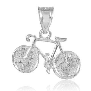 925 Sterling Silver Mountain Bike Sports Charm Bicycle Pendant: Jewelry