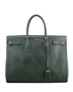 Classic Sac De Jour Leather Tote Bag, Green   Saint Laurent