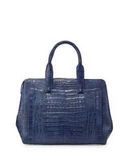 Crocodile Large Zip Tote Bag, Denim   Nancy Gonzalez