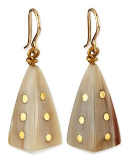 Doa Light Horn Pyramid Dot Earrings   Ashley Pittman