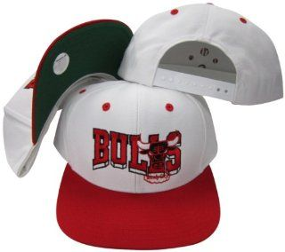 Chicago Bulls White/Red Two Tone Snapback Adjustable Plastic Snap Back Hat / Cap : Sports & Outdoors