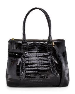 Crocodile Zip Compartment Tote Bag, Large   Nancy Gonzalez