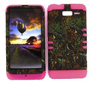 Motorola Droid Razr M Xt907 Camo Mossy Oak Heavy Duty Case + Hot Pink Gel Skin Snap on Protector Accessory: Cell Phones & Accessories