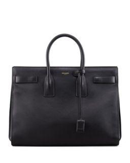 Classic Sac De Jour Leather Tote Bag, Black   Saint Laurent