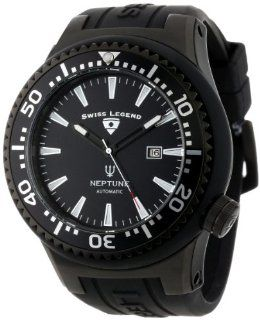 Swiss Legend Men's 11818A BB 01 SA W Neptune Automatic Black Dial Black Silicone Watch: Watches