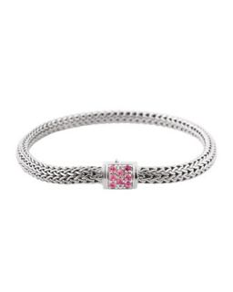 Batu Classic Chain Silver Extra Small Bracelet with Pink Spinel, Size M   John