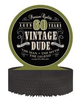 Creative Converting Vintage Dude 60th Birthday Centerpiece with Honeycomb Base: Kitchen & Dining