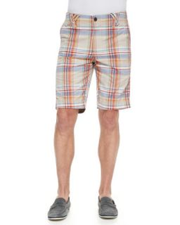 Mens Anacapri Plaid Shorts with Origami Belt Loops, Multicolor   Robert Graham