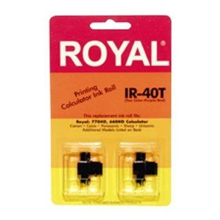 Royal IR40T Ink Pack for Royal TC 100 Time Clock + Many Calculator Models (2 Pack, Black/Red ink)  Manual Time Clock  Electronics