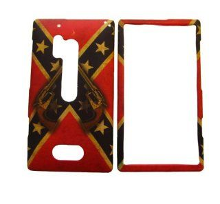 NOKIA LUMIA 928 VERIZON RED REBEL CONFEDERATE FLAG SMOKE SMOKING GUNS RUBBERIZED HARD COVER CASE SNAP ON: Cell Phones & Accessories