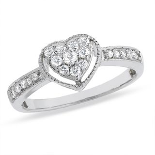 CT. T.W. Heart Shaped Diamond Frame Ring in 10K White Gold   Zales