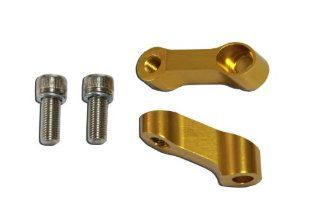 10mm CNC Motorcycle Mirror Riser Extender   Gold   Right Hand Bolt and Mirror Mount Honda CBR 600 900 929 954 1000 RR, Kawasaki Ninja ZXR, Suzuki GSXR 600 750 1000 Bandit SV650, Yamaha R6 R1   Pair: Automotive