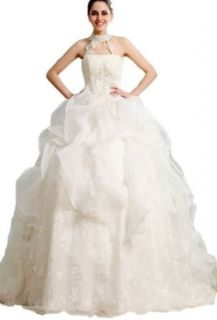 Crystal Dresses Women's A line Sleeveless Floor length Chapel Ruffles Wedding Dress at  Women�s Clothing store:
