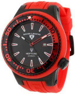 Swiss Legend Men's 11818A BB 01 RBS W Neptune Automatic Black Dial Red Silicone Watch Watches