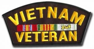 Vietnam Veteran Service Ribbons Iron On Embroidered Patch: Clothing