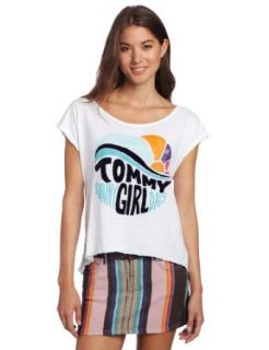 Tommy Girl Juniors Sunny Days TG Logo Tee, Bright White, Large at  Women�s Clothing store: Fashion T Shirts