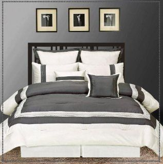 Artistic Linen Hotel Collection Ileana 8 Piece Reversible Embroidered Faux Silk Comforter Set, California King, Slate