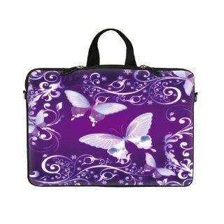 "14 14.1 inch Purple Butterfly Design Laptop Sleeve with Hidden Handle & D Ring Hook Eyelets for Shoulder Strap Bag Carrying Case for 14"" 14.1"" Acer, Asus, Dell, Hp, Sony, Toshiba, Lenvono, IBM, Panasonic and similar size notebook Computers &"