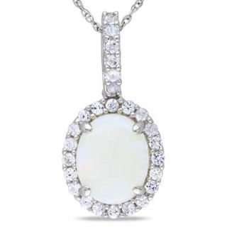 Created White Sapphire Frame Pendant in 10K White Gold   17   Zales