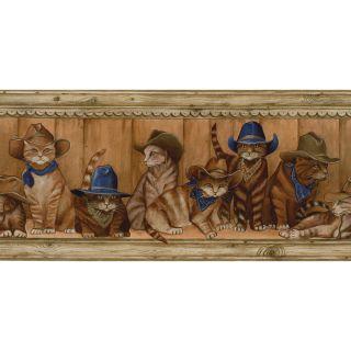 allen + roth 10 1/4 Blue Cowboy Cats Prepasted Wallpaper Border
