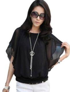 TRURENDI Womens Batwing Sleeve Crew Neck Ol Chiffon Blouse T shirt Tops (XL, White) at  Women�s Clothing store: