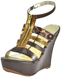 Liliana Sofie 6 Brown Women Wedge Sandals: Shoes