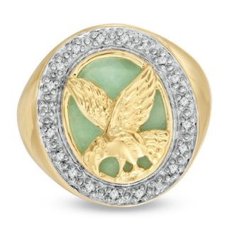Mens Jade and 1/8 CT. T.W. Diamond Frame Eagle Ring in 18K Gold