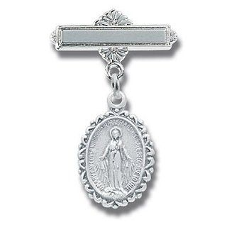Sterling Silver Christening Baptism Baby Infant Pins Godchild Religious Mary Angel: Jewelry