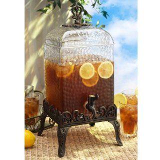Paris Hammered Glass Beverage Dispenser with Stand 2 Gallon Kitchen & Dining