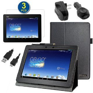 BIRUGEAR SlimBook Leather Folio Stand Case with Screen Protector, Charger for Asus Memo Pad FHD 10 ME302C   10.1'' Full HD IPS Display Tablet (Black Case) Computers & Accessories