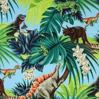 Alexander Henry Prehistoric Dinosaurs Blue, 44 inch (112cm) Wide Cotton Fabric Yardage