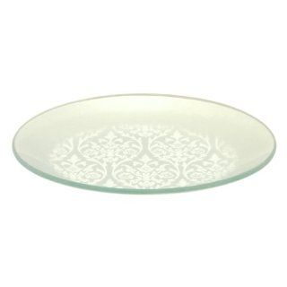 Tango Home 4 pc Metallic Foil Tempered Glass Plate Set Silver Damask, 8 inch Round: Kitchen & Dining