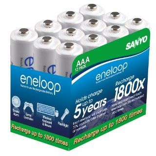 eneloop AAA 1800 cycle, Ni MH Pre Charged Rechargeable Batteries, 12 Pack: Electronics