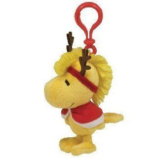 TY Beanie Baby   WOODSTOCK the WINTER Bird ( Reindeer Antlers and Cape   Peanuts   Plastic Key Clip ): Toys & Games