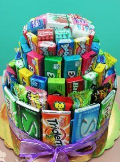 Bubble Gum Candy Birthday Cake   Perfect for Teen and College Students : Gourmet Gift Items : Grocery & Gourmet Food