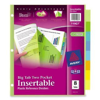 Avery Big Tab Two Pocket Insertable Plastic Dividers, 8 Tabs, 1 Set (11907)  Binder Index Dividers