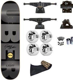 Almost Rodney Mullen Gray Super Uber Light Spectrum 8.0 Skateboard Deck Complete Tensor Magnesium Light Hollow Axle/Hollow Kingpin Mullen Uber Blocks 5.0 Lo Trucks Bones 100's 53mm Wheels Abec 7 Bearings Jessup Grip Tape (Comes Assembled Ready To Ride)