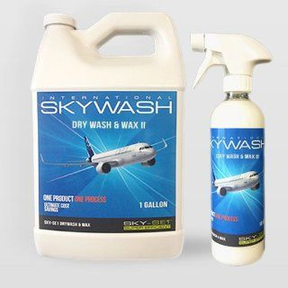 SKYWASH SKY SE1 Drywash & Wax Polymer based is a waterless wash and wax aircraft exterior cleaning product. The one step process leaves a clean and high gloss surface. Protects long term against harsh environment, UV rays, oxidation and protects from c