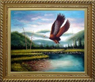 American Eagle Soaring Across the Lake Oil Painting, with White Wood Frame 26x30 Inch