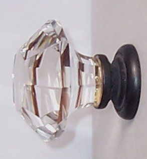 """Two Oversized Asscher Cut Old Town Lead Crystal BiFold /Wardrobe Knobs, almost 2"""" in diameter. OIL Rubbed Bronze Stem topped over Solid Brass which is visible in the base. Another 3rd Generation RoussoDesigns for when you need the ultimate knob pull"""