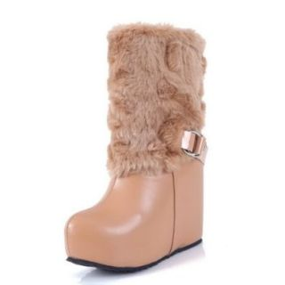 BeautyLover Women's Close Round Toe Platform Ankle Strap High Heels Mid Calf PU and Nappa Wedges Boots with Buckle,Beige,32: Shoes