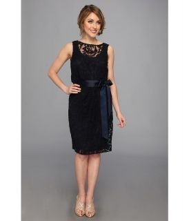Adrianna Papell Lace Blouson w/ Sash Womens Dress (Navy)
