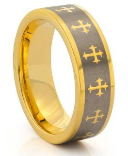 8MM Tungsten Carbide Gold Cross Wedding Band Ring w/Laser Etched Celtic Design (Available Sizes 7 14 Including Half Sizes): Titanium Mens Ring: Jewelry